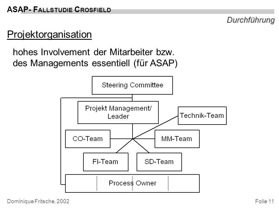 Durchführung Projektorganisation. hohes Involvement der Mitarbeiter bzw. des Managements essentiell (für ASAP)