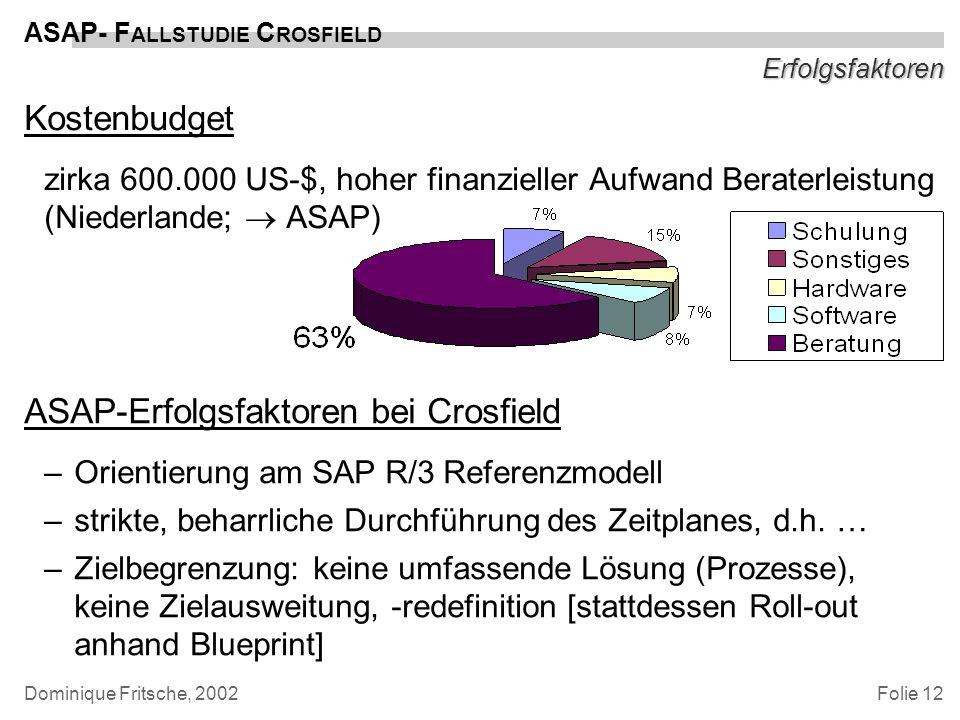 ASAP-Erfolgsfaktoren bei Crosfield