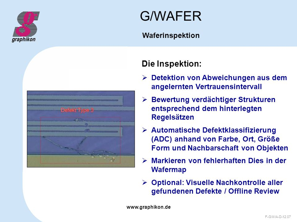 G/WAFER Die Inspektion: Waferinspektion