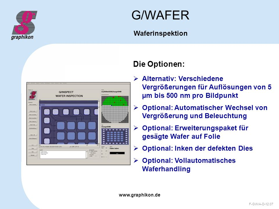 G/WAFER Die Optionen: Waferinspektion