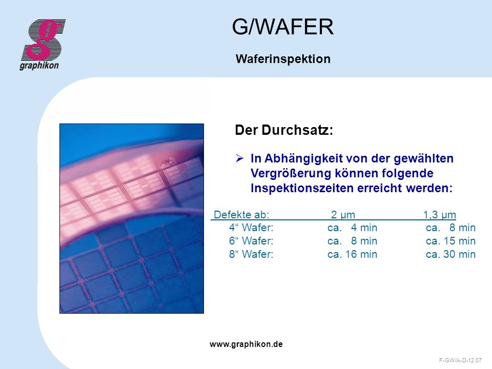 G/WAFER Der Durchsatz: Waferinspektion