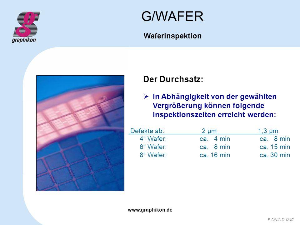 G/WAFER Der Durchsatz: Waferinspektion