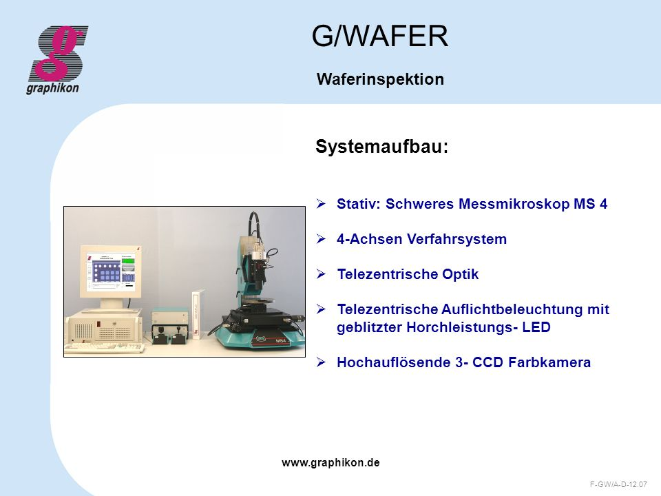 G/WAFER Systemaufbau: Waferinspektion