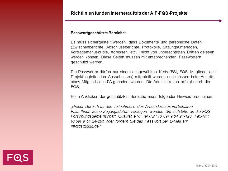 Richtlinien für den Internetauftritt der AiF-FQS-Projekte