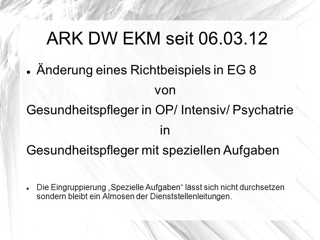 ARK DW EKM seit 06.03.12 Änderung eines Richtbeispiels in EG 8 von