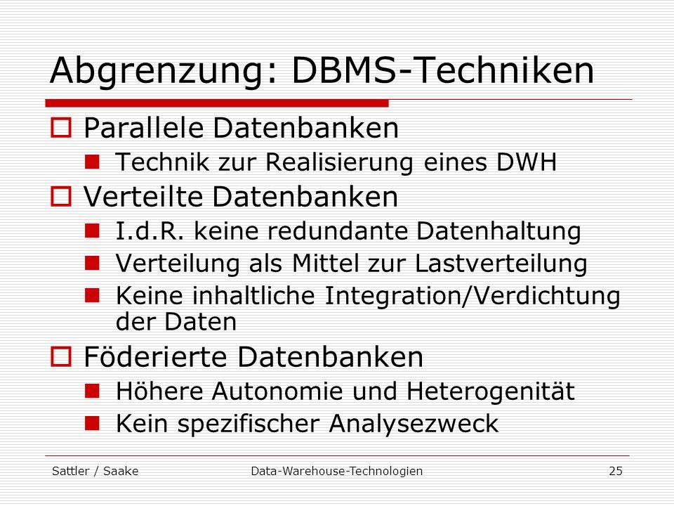 Abgrenzung: DBMS-Techniken