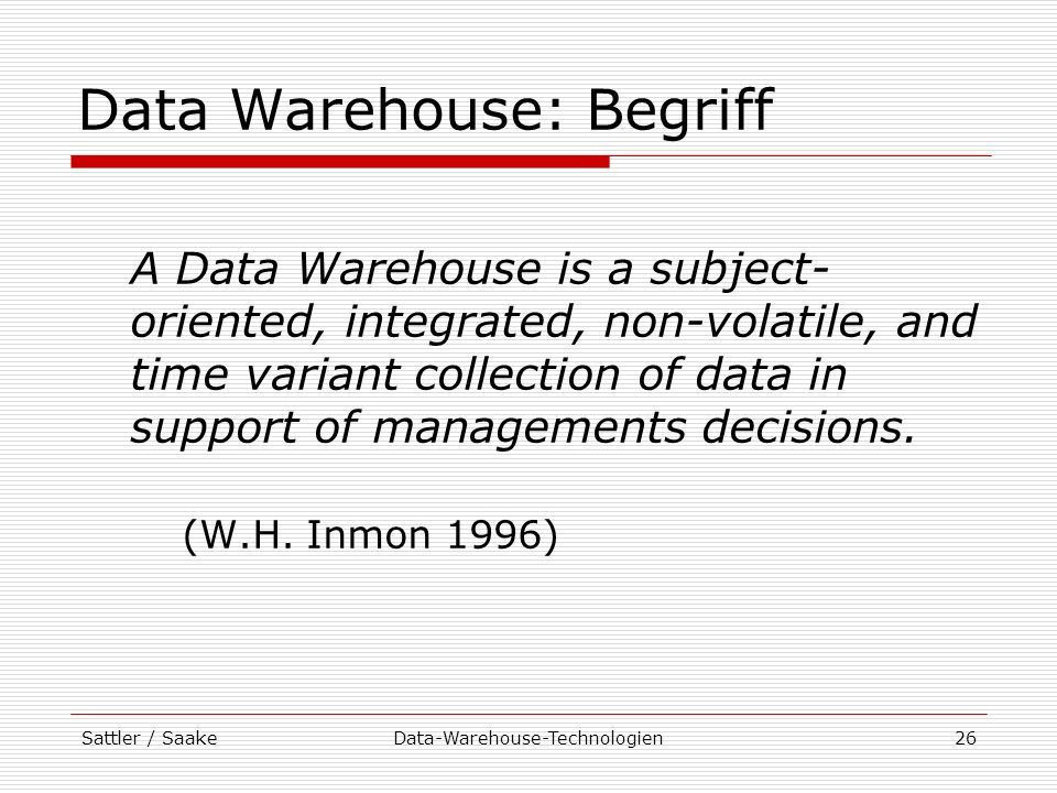 Data Warehouse: Begriff