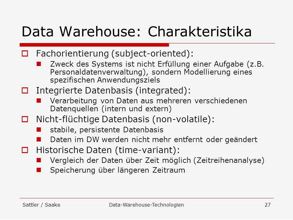 Data Warehouse: Charakteristika