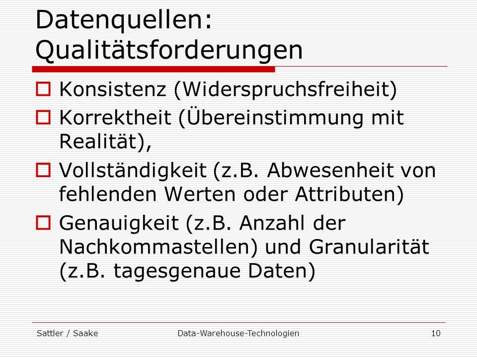 Datenquellen: Qualitätsforderungen