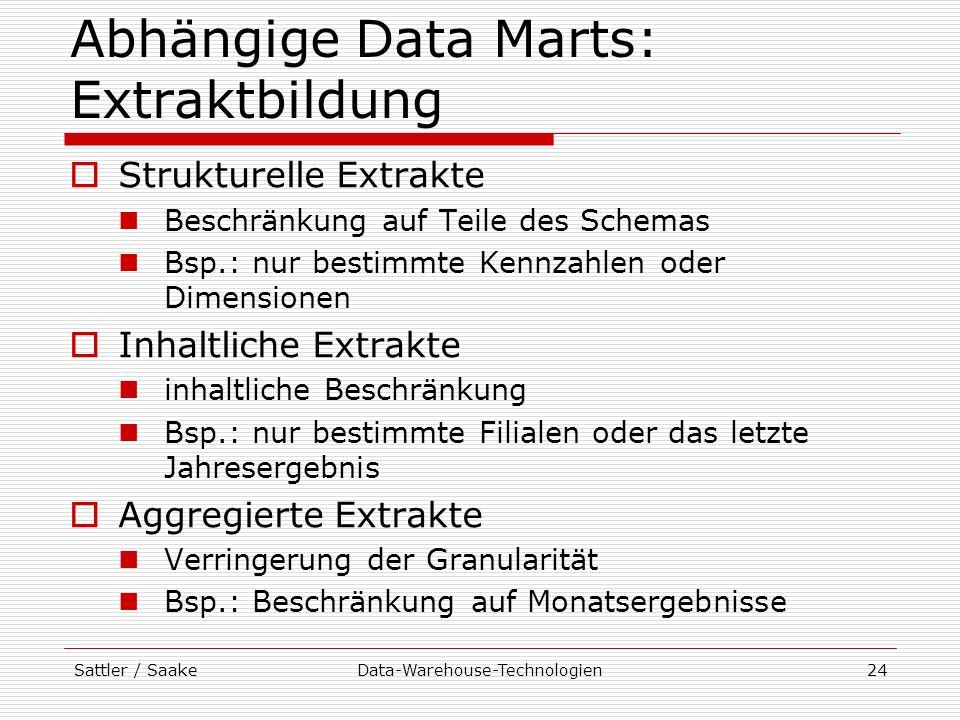 Abhängige Data Marts: Extraktbildung