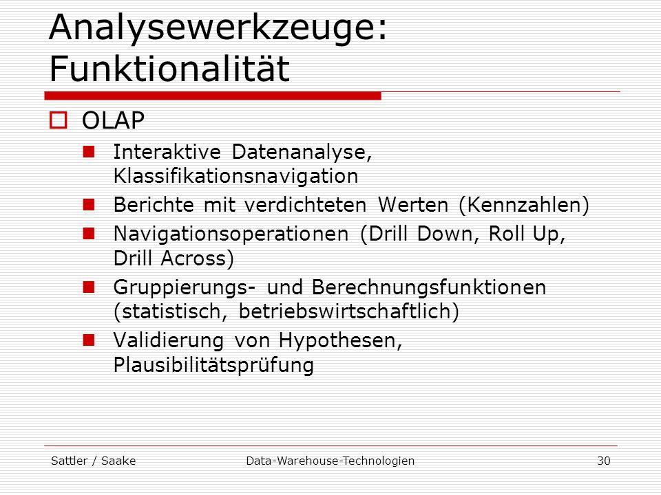 Analysewerkzeuge: Funktionalität