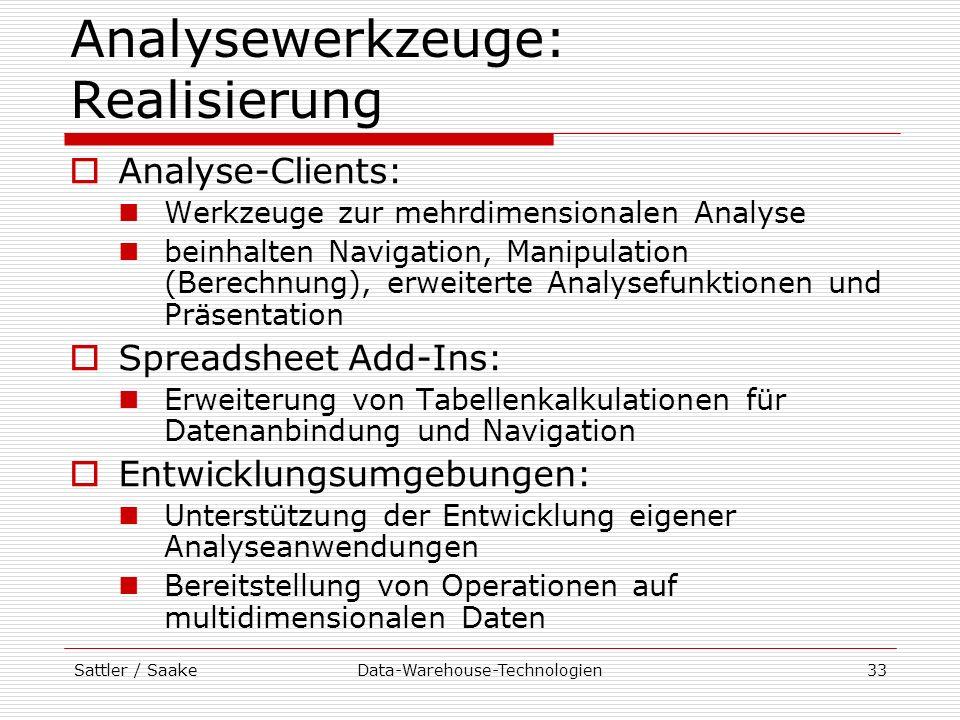 Analysewerkzeuge: Realisierung