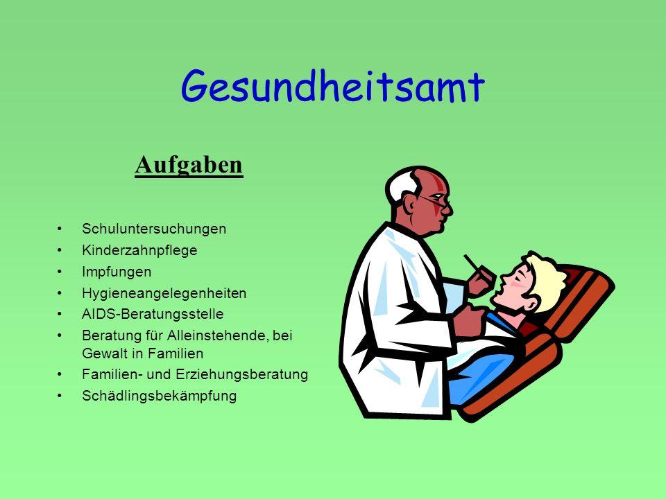 Gesundheitsamt Aufgaben Schuluntersuchungen Kinderzahnpflege Impfungen