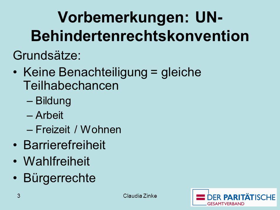 Vorbemerkungen: UN-Behindertenrechtskonvention