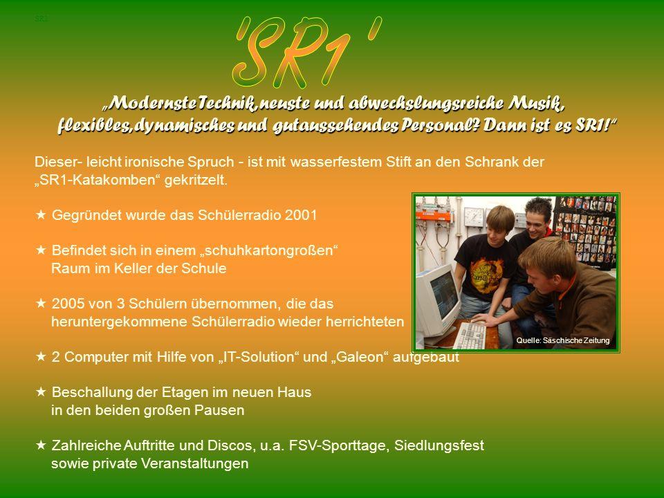 """SR1 """"Modernste Technik, neuste und abwechslungsreiche Musik,"""