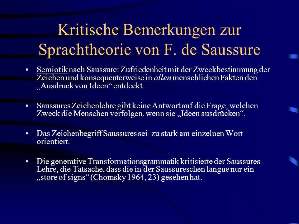Kritische Bemerkungen zur Sprachtheorie von F. de Saussure