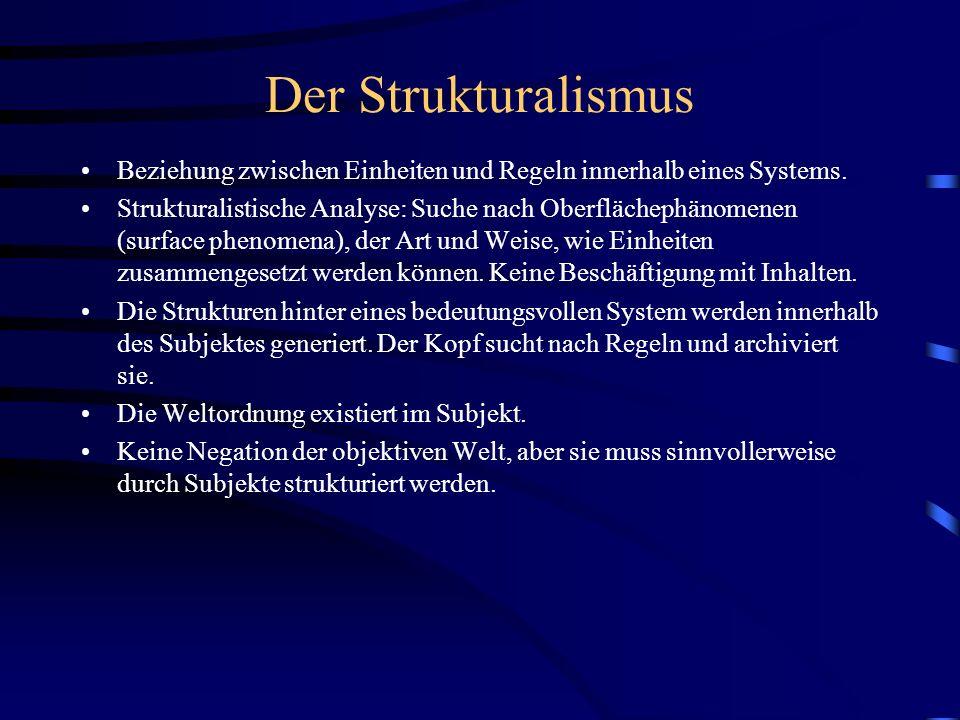 Der Strukturalismus Beziehung zwischen Einheiten und Regeln innerhalb eines Systems.