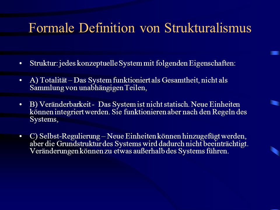 Formale Definition von Strukturalismus