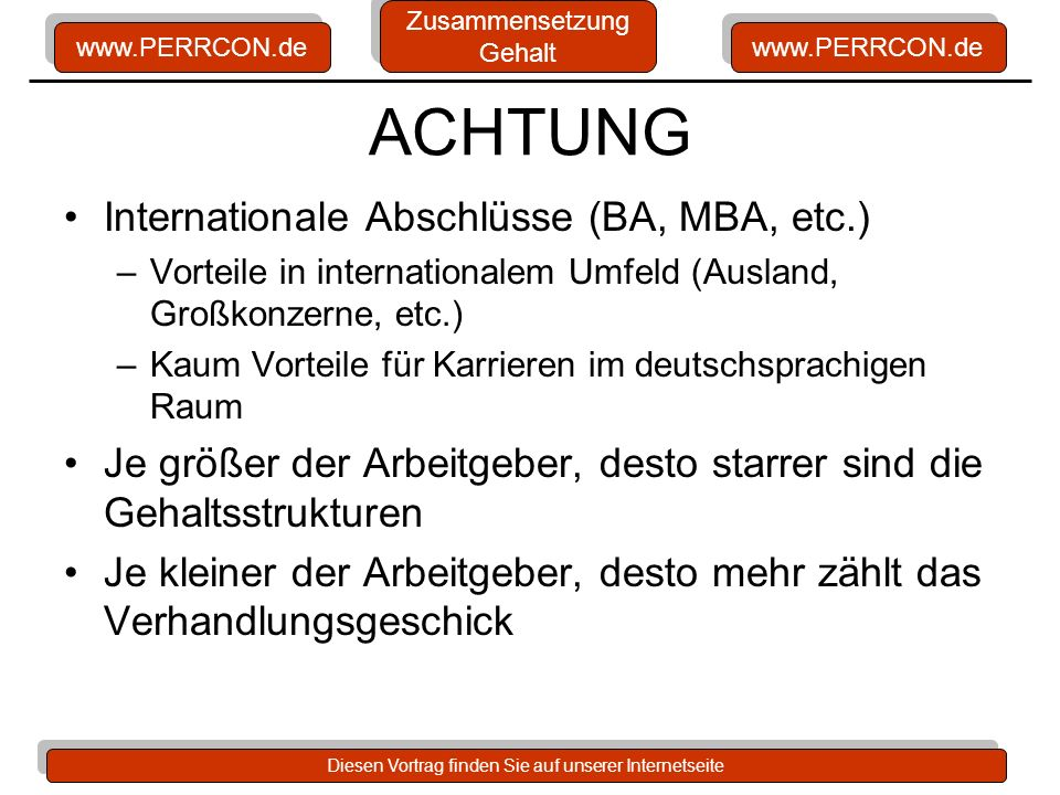 ACHTUNG Internationale Abschlüsse (BA, MBA, etc.)