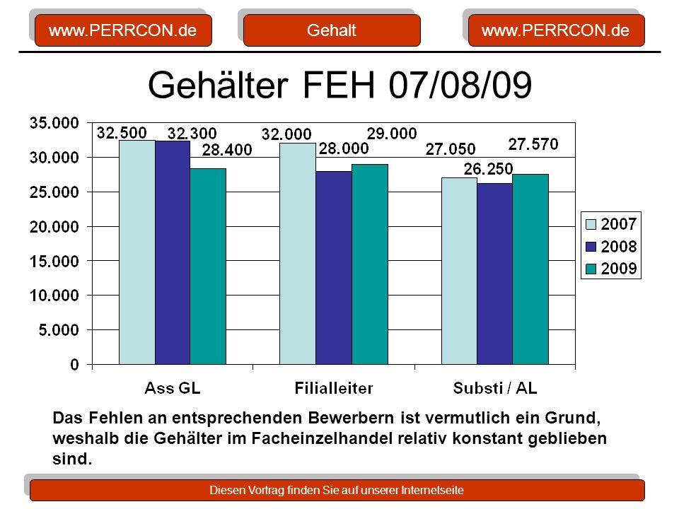 Gehalt Gehälter FEH 07/08/09. Definition: Ass GL. Tendenz: eher sinkend. Definition: FL. Tendenz: Abfall, jetzt leichter Anstieg.