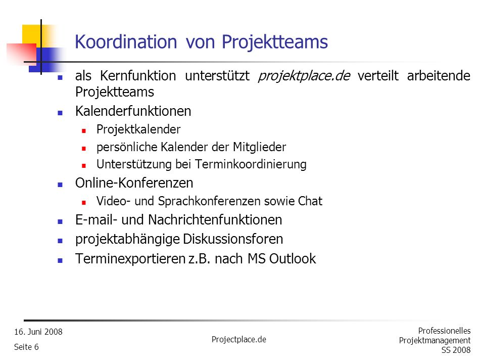 Koordination von Projektteams