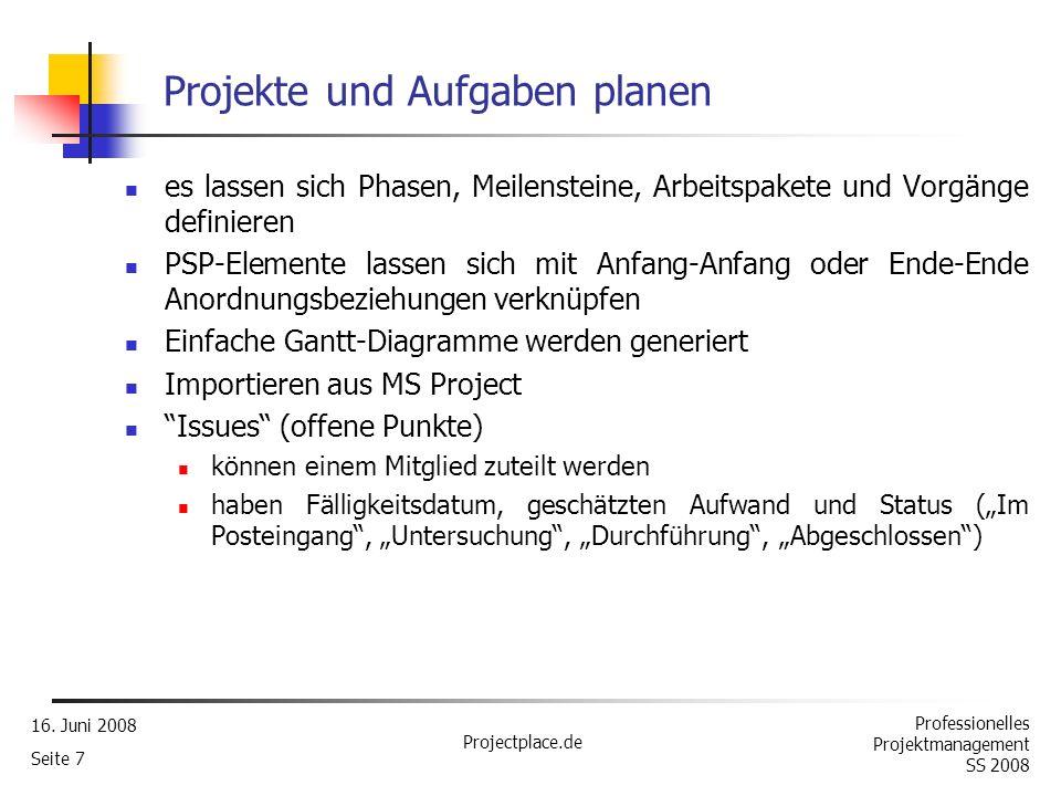Projekte und Aufgaben planen