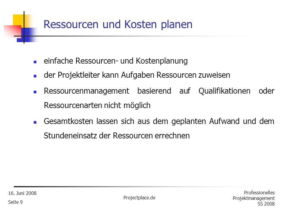 Ressourcen und Kosten planen