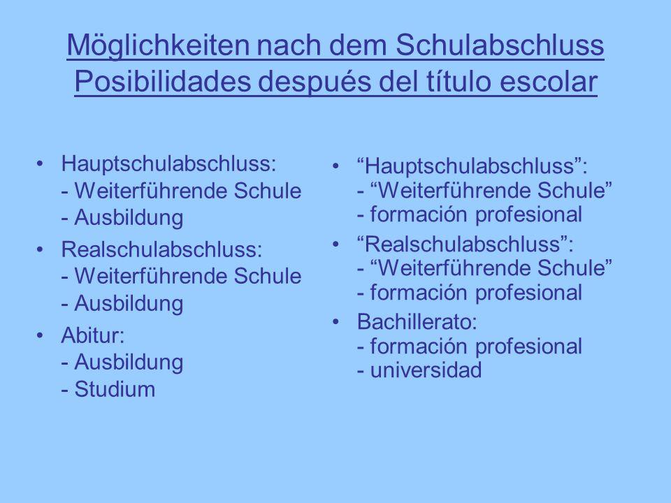Möglichkeiten nach dem Schulabschluss Posibilidades después del título escolar