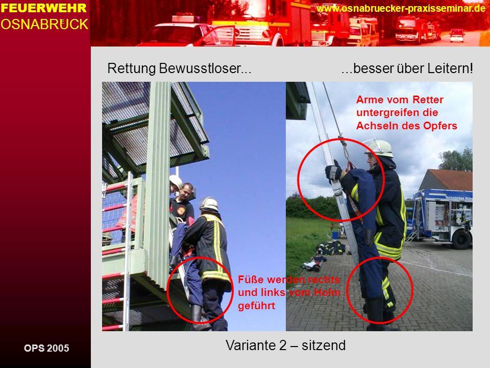 Rettung Bewusstloser... ...besser über Leitern!