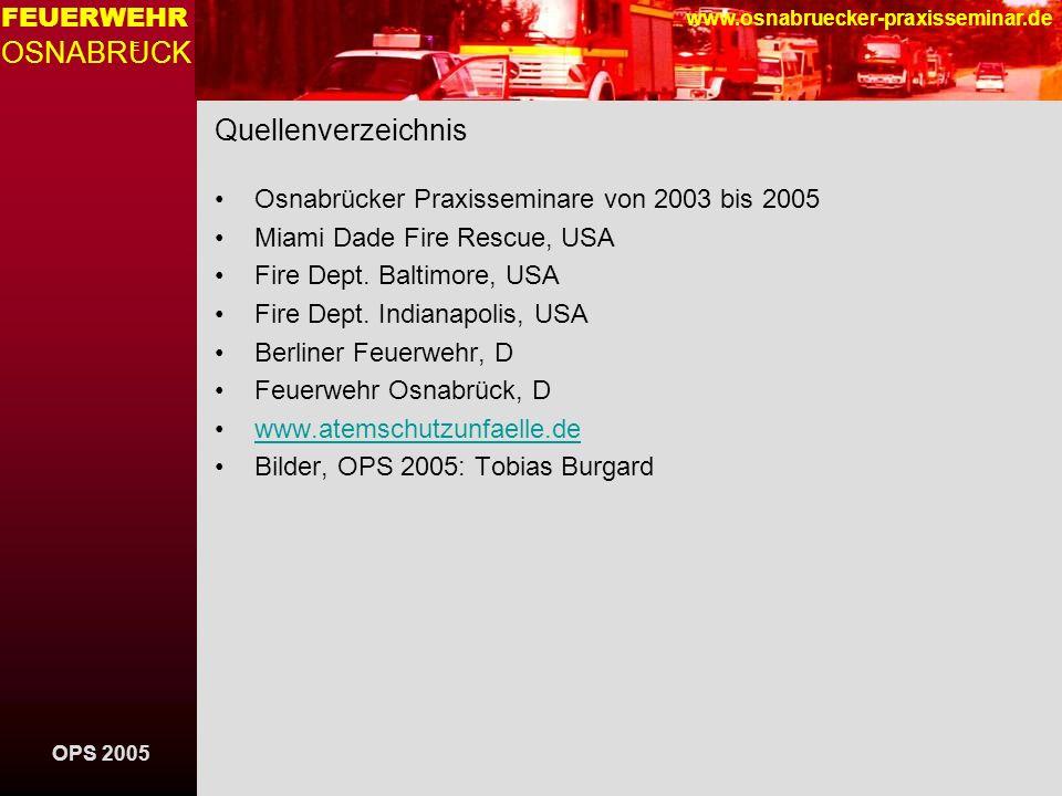 Quellenverzeichnis Osnabrücker Praxisseminare von 2003 bis 2005