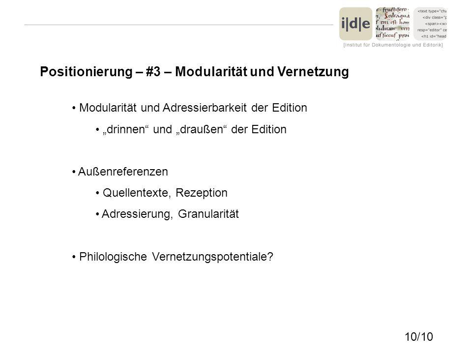 Positionierung – #3 – Modularität und Vernetzung