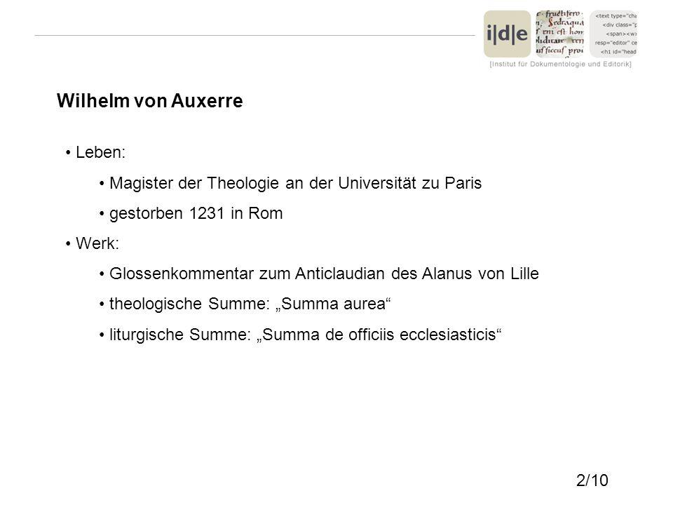 Wilhelm von Auxerre Leben: