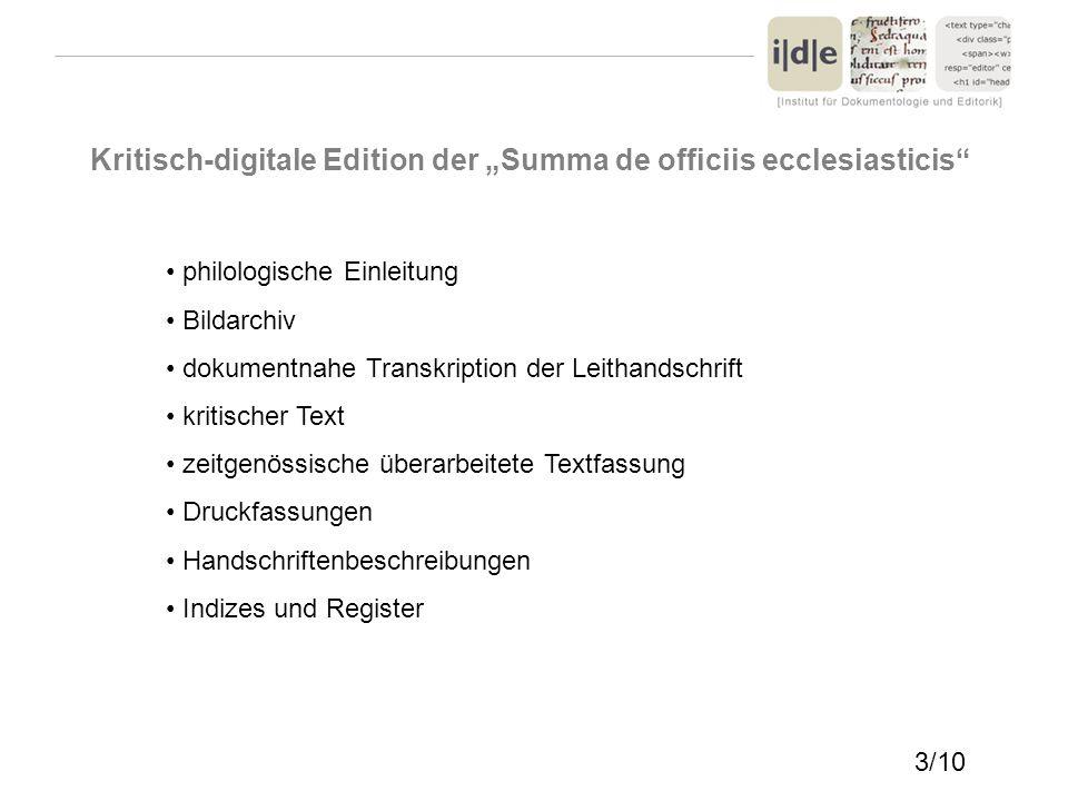 "Kritisch-digitale Edition der ""Summa de officiis ecclesiasticis"