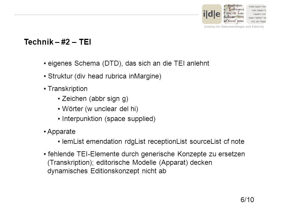 Technik – #2 – TEI eigenes Schema (DTD), das sich an die TEI anlehnt