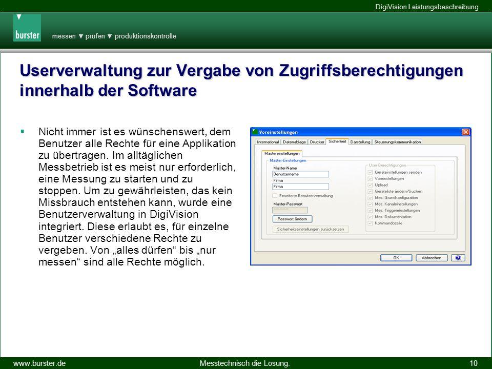 Userverwaltung zur Vergabe von Zugriffsberechtigungen innerhalb der Software