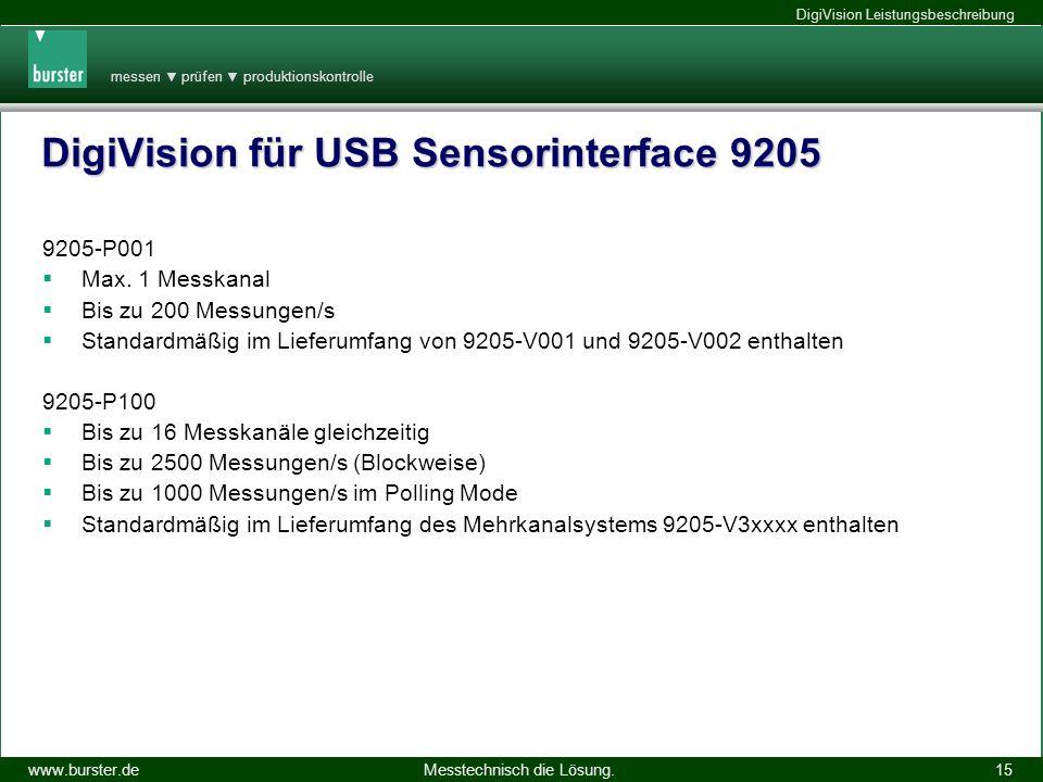DigiVision für USB Sensorinterface 9205