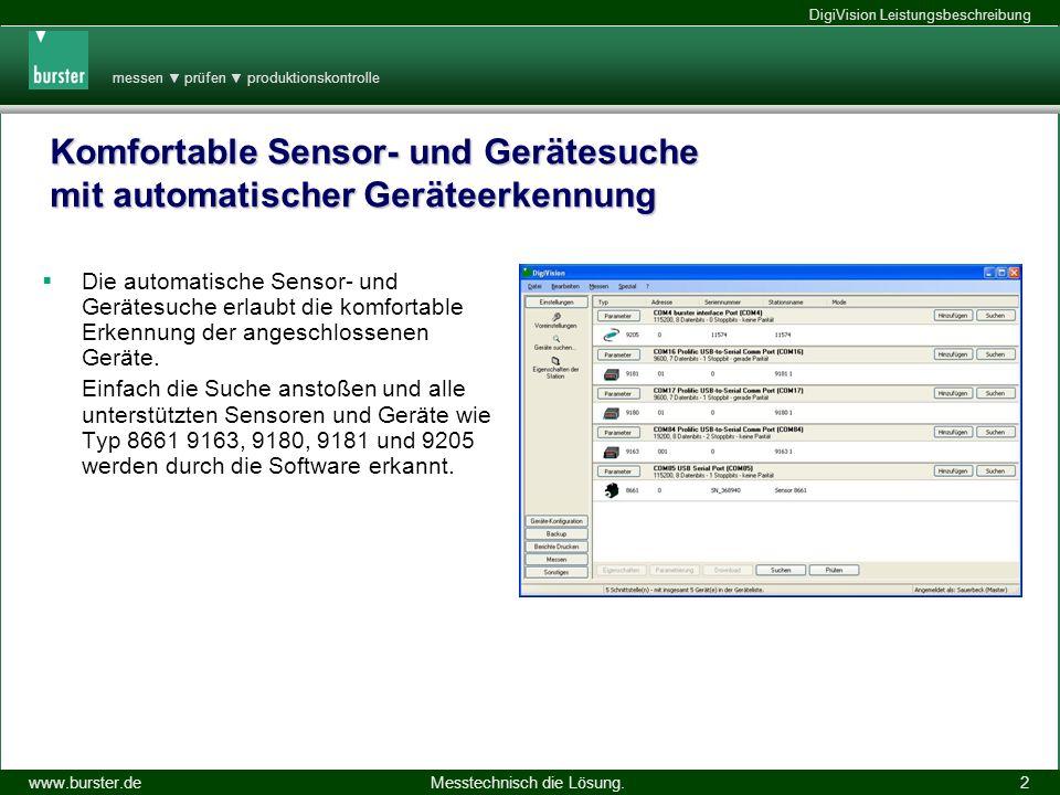 Komfortable Sensor- und Gerätesuche mit automatischer Geräteerkennung