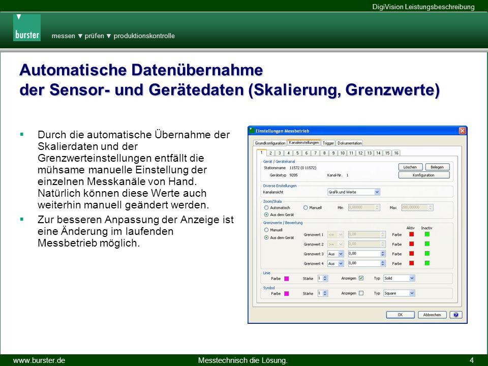 Automatische Datenübernahme der Sensor- und Gerätedaten (Skalierung, Grenzwerte)