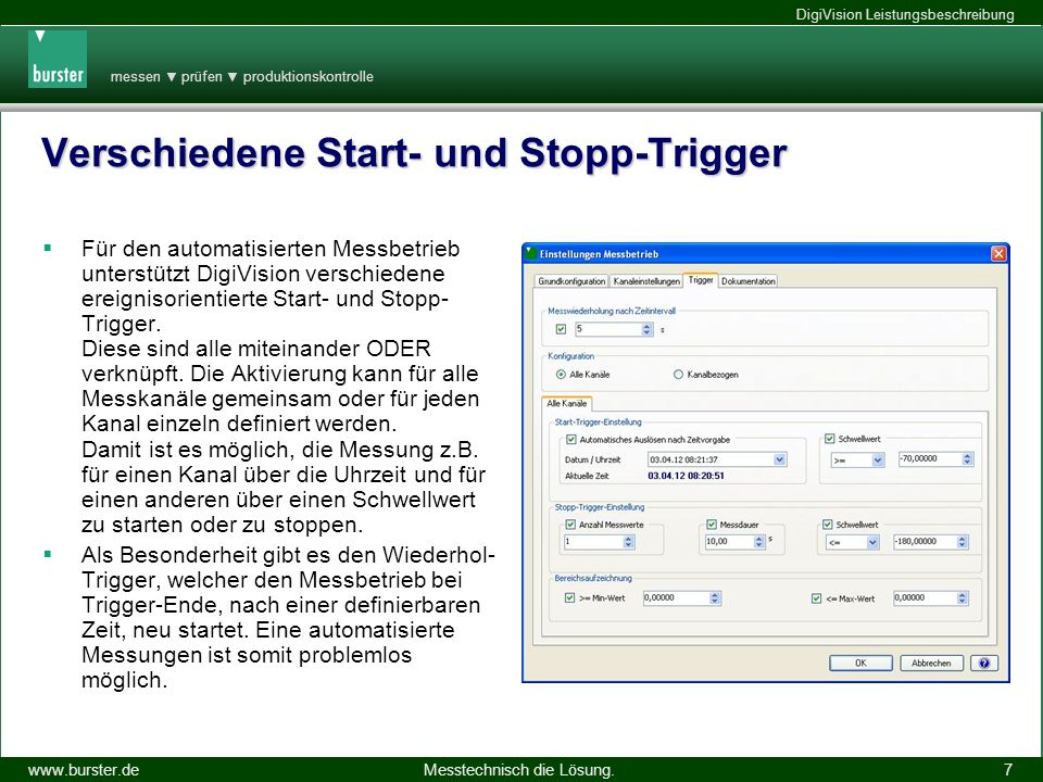 Verschiedene Start- und Stopp-Trigger