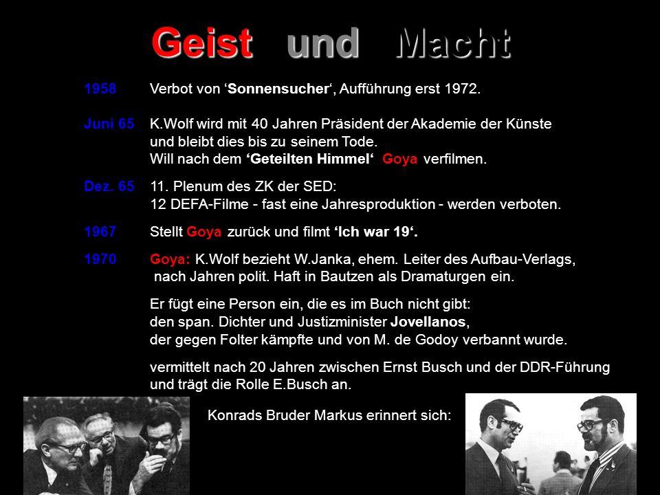 Geist und Macht 1958 Verbot von 'Sonnensucher', Aufführung erst 1972.
