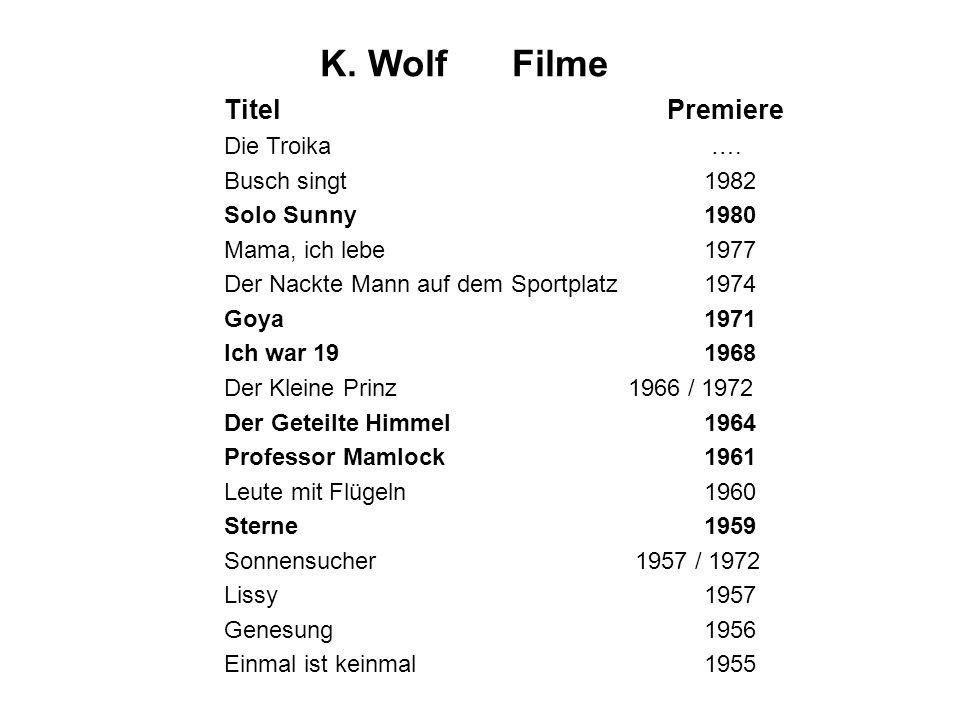 K. Wolf Filme Titel Premiere Die Troika …. Busch singt 1982