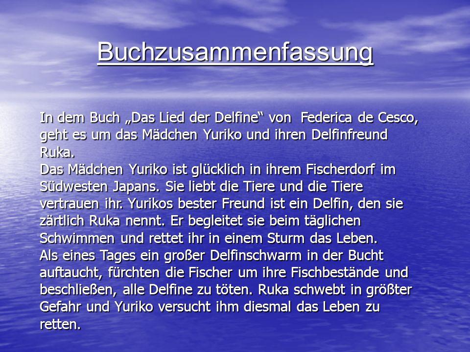 """BuchzusammenfassungIn dem Buch """"Das Lied der Delfine von Federica de Cesco, geht es um das Mädchen Yuriko und ihren Delfinfreund Ruka."""