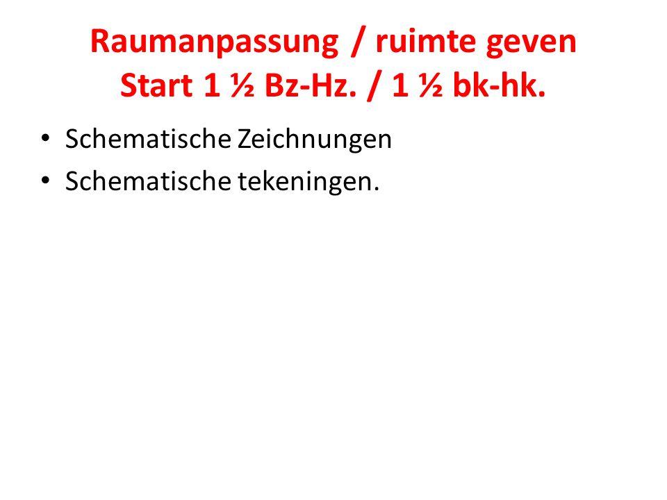 Raumanpassung / ruimte geven Start 1 ½ Bz-Hz. / 1 ½ bk-hk.