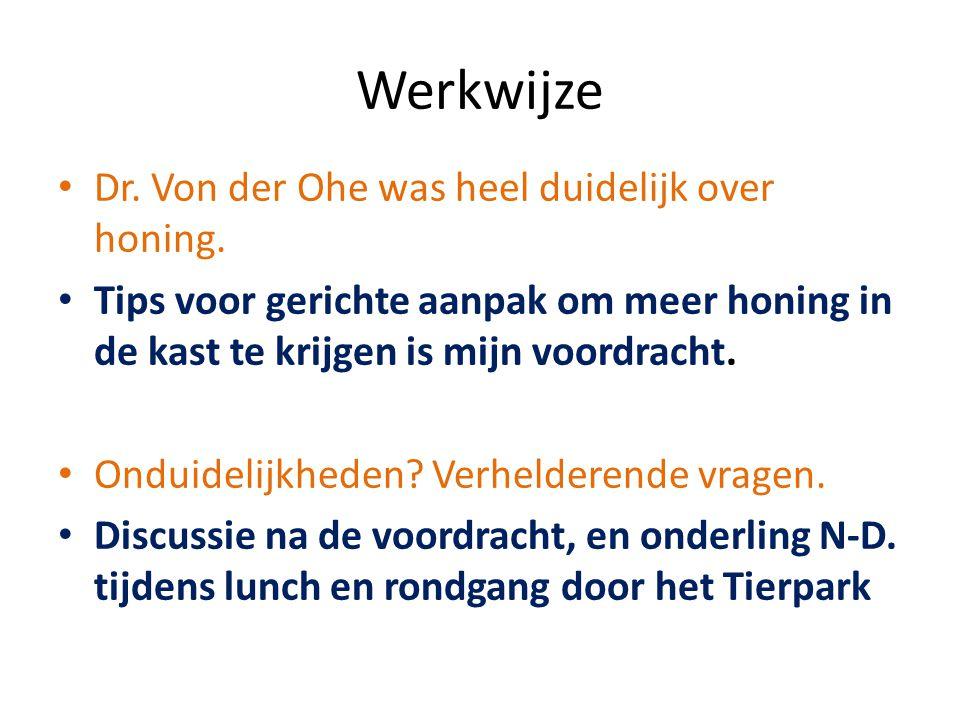 Werkwijze Dr. Von der Ohe was heel duidelijk over honing.