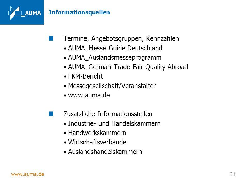 Termine, Angebotsgruppen, Kennzahlen AUMA_Messe Guide Deutschland