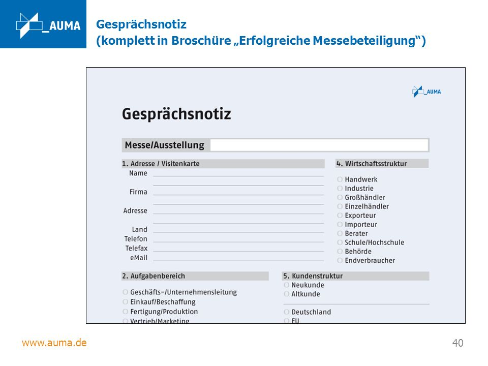 """Gesprächsnotiz (komplett in Broschüre """"Erfolgreiche Messebeteiligung )"""