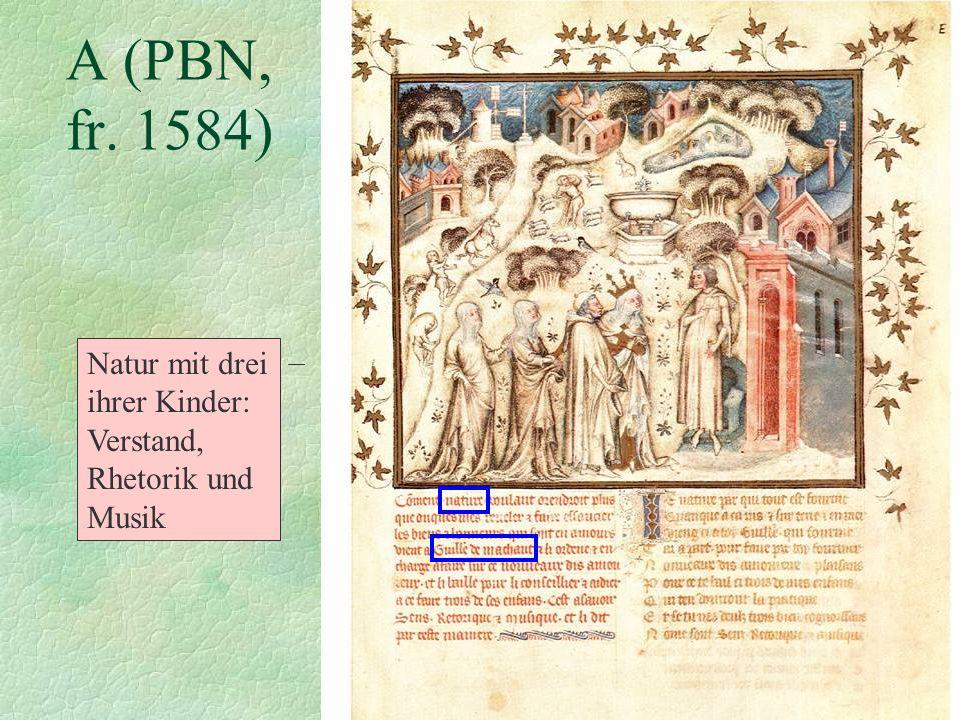A (PBN, fr. 1584) Natur mit drei ihrer Kinder: Verstand, Rhetorik und Musik