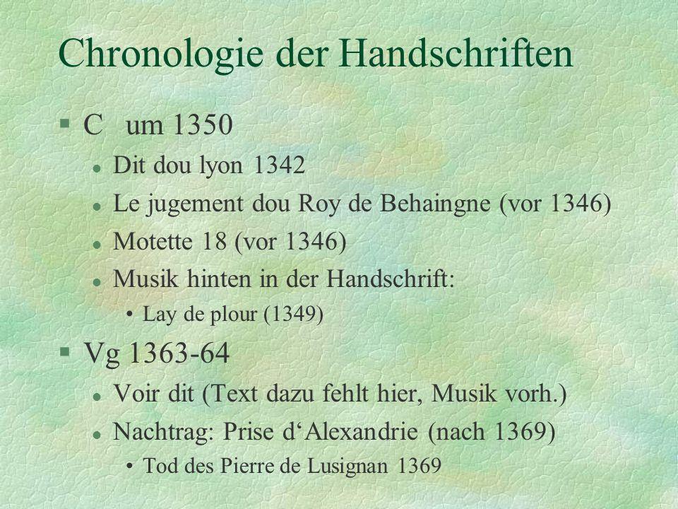 Chronologie der Handschriften