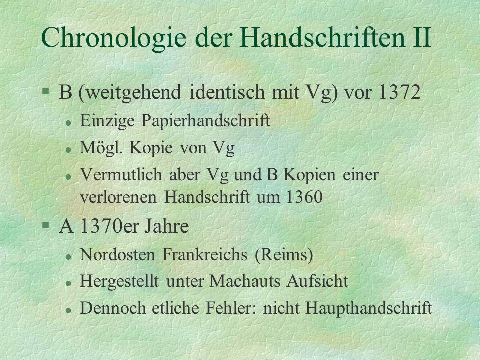 Chronologie der Handschriften II