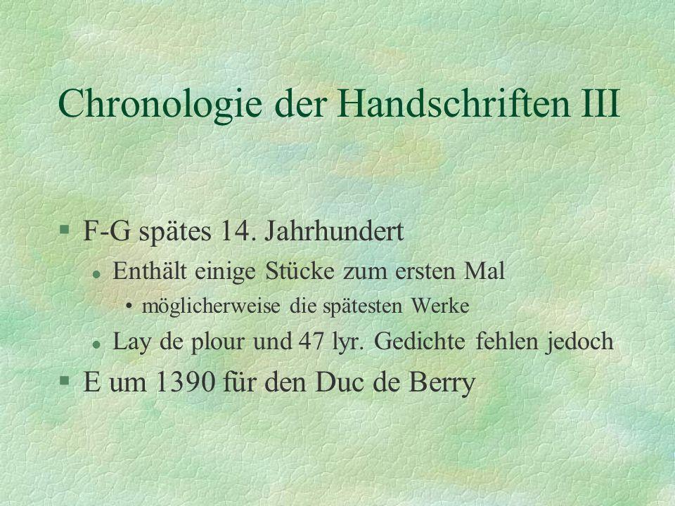 Chronologie der Handschriften III